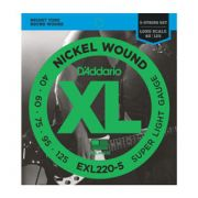 Encordoamento D'addario para Baixo 5c EXL220-5 - Longa .040/125