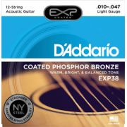 Encordoamento D'addario para Violão Aço 12c COATED PHOSPHOR BRONZE EXP38 - LIGHT .010/047