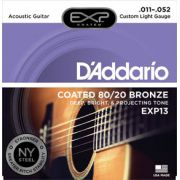 Encordoamento D'Addario para Violão Aço COATED EXP13 LIGHT CUSTOM .011/052