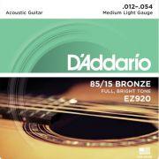 Encordoamento D'addario para Violão Aço EZ920 - MEDIO LIGHT .012/054