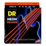 Encordoamento p/Baixo DR STRINGS 5C Hi-Def NEON ORANGE Coated 45/125 NOB5-45
