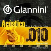 Encordoamento p/Violão Aço Giannini  .010 BRONZE 65/35 - GESWAM