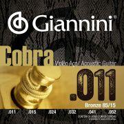 Encordoamento p/Violão Aço Giannini  .011 BRONZE 85/15 - GEEFLK