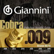 Encordoamento p/Violão Aço Giannini Bronze .009. 85/15 - GEEWAK