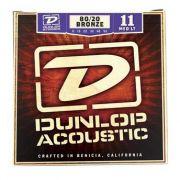 Encordoamento para Violão Aço Bronze Dunlop 0.11 Medio/Leve 8020