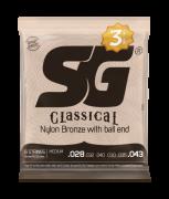 Pack c/3 Encordoamentos SG Strings Nylon Bronze 65 35/Prata Tensão Media C/Bolinha 5280TP