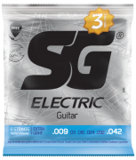 Pack c/3 Encordoamentos SG STRINGS P/Guitarra .009 NIQUEL  5145TP