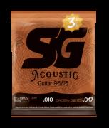 Pack c/3 Encordoamentos SG STRINGS P/Violão Aço .010 BRONZE 85 15  6685TP
