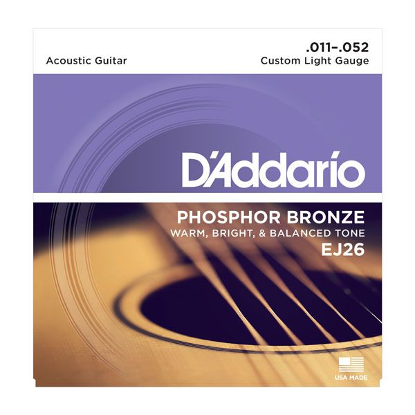 Encordoamento D'addario p/Violão Aço PHOSPHOR BRONZE EJ26 - CUSTOM LIGHT .011