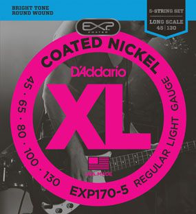 Encordoamento D'addario para Baixo COATED EXP170-5 - Longa .045/130