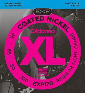 Encordoamento D'addario para Baixo 4C COATED EXP170 Longa .045 /100