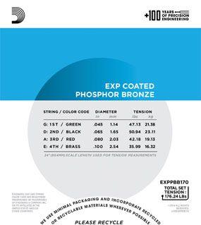 Encordoamento D'addario para Baixolão 4c COATED PHOSPHOR BRONZE - EXPPBB170 - Longa .045/100