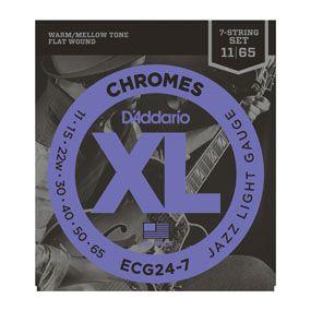 Encordoamento D'addario para Guitarra 7c  CHROMES -ECG24-7 - Jazz Light .011/.065