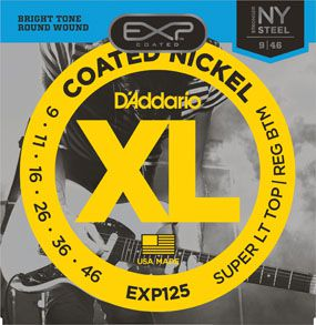Encordoamento D'addario para Guitarra COATED EXP125 SUPER LIGHT TOP/REGULAR BOTTOM .009/.046
