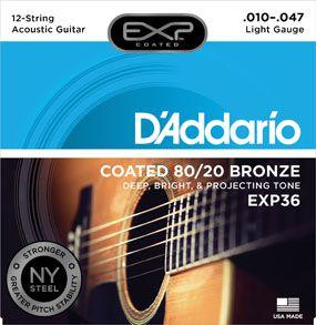 Encordoamento D'addario para Violão Aço 12c COATED EXP-36 80/20 - .010/.047
