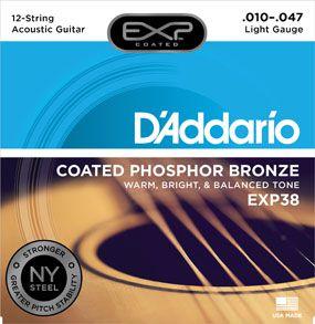 Encordoamento D'addario p/Violão 12c COATED PHOSPHOR BRONZE EXP38 - LIGHT .010/047