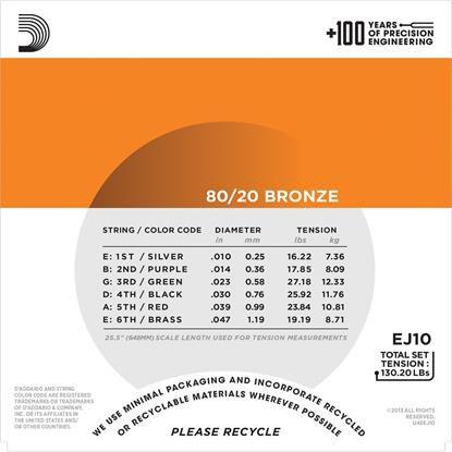Encordoamento D'addario para Violão Aço BRONZE EJ10-B - EXTRA LIGHT .010/.047