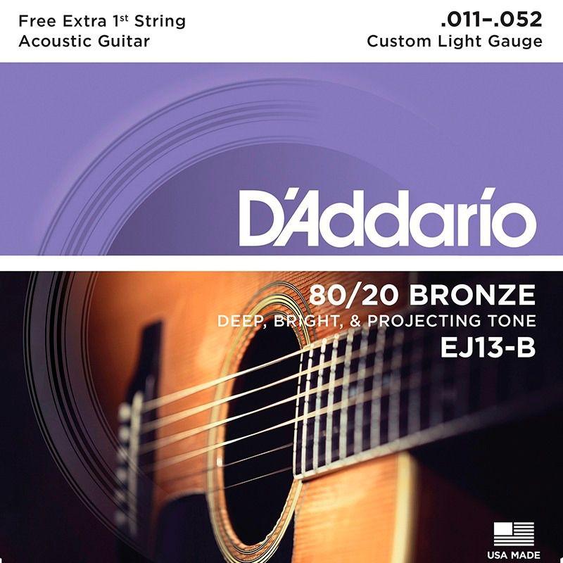 Encordoamento D'addario para Violão Aço BRONZE EJ13-B CUSTOM LIGHT .11/52