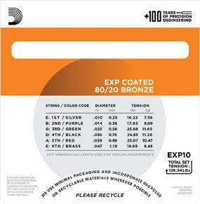 Encordoamento D'addario para Violão Aço COATED EXP10 EXTRA LIGHT  .010/047