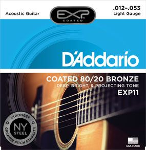 Encordoamento D'addario para Violão Aço COATED EXP11 LIGHT .012/053