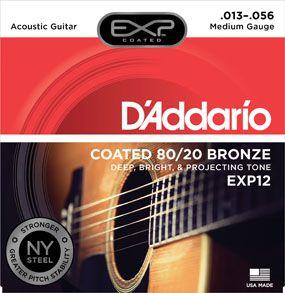 Encordoamento D'addario para Violão Aço COATED EXP12  MEDIA .013/056