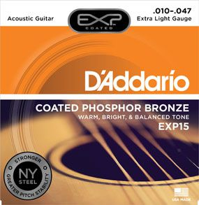 Encordoamento D'Addario para Violão Aço COATED PHOSPHOR BRONZE EXP15-  EXTRA LIGHT .010/.047