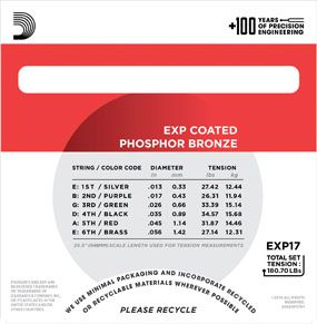 Encordoamento D'Addario para Violão Aço COATED PHOSPHOR BRONZE EXP17 - MEDIA .013/056