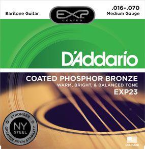 Encordoamento D'Addario para Violão Aço COATED PHOSPHOR BRONZE EXP23 BARITONO .016/070