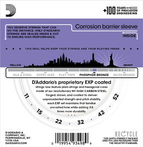 Encordoamento D'addario para Violão Aço COATED PHOSPHOR BRONZE EXP26 - LIGHT CUSTOM .011/052