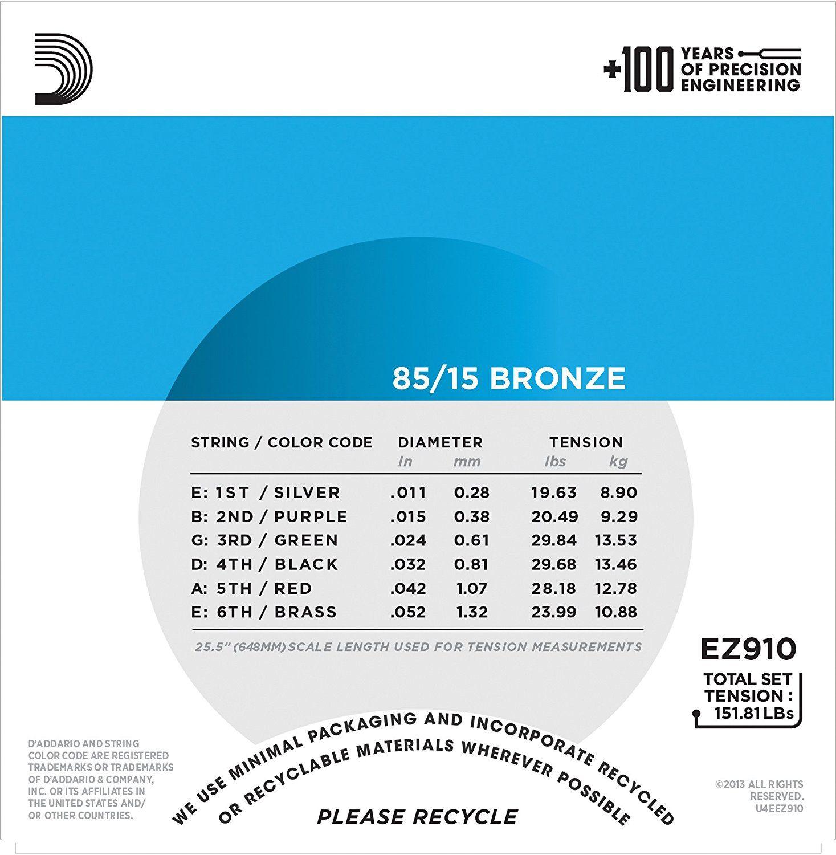 Encordoamento D'Addario para Violão Aço EZ910-B LIGHT 11/52