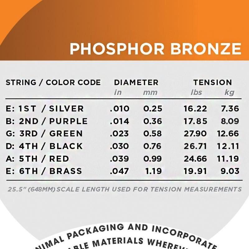 Encordoamento D'addario para Violão Aço PHOSPHOR BRONZE EJ15 - EXTRA LIGHT .010/047
