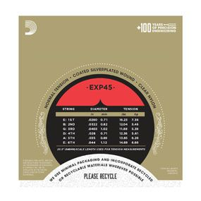 Encordoamento D'addario para Violão Nylon EXP45 COATED SILVER WOUND - Normal