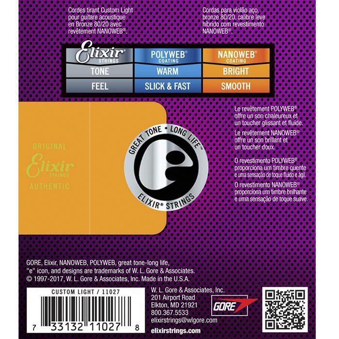 Encordoamento Elixir para Violão Aço 010 Extra Light - Nanoweb