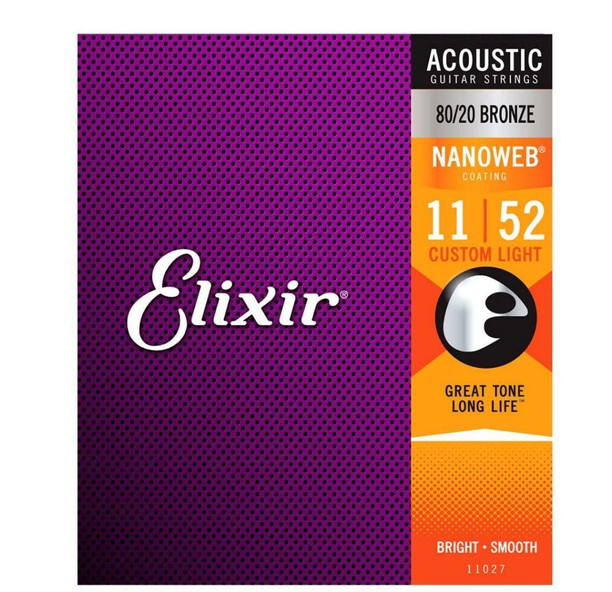 Encordoamento Elixir para Violão Aço 011 CUSTOM LIGHT - Nanoweb