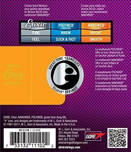 Encordoamento Elixir para Violão Aço Bronze 013 - Nanoweb