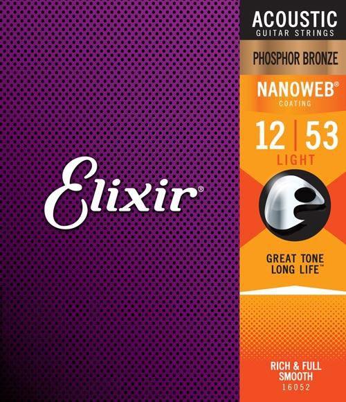 Encordoamento Elixir para Violão Aço Phosphor Bronze 012 Light - Nanoweb