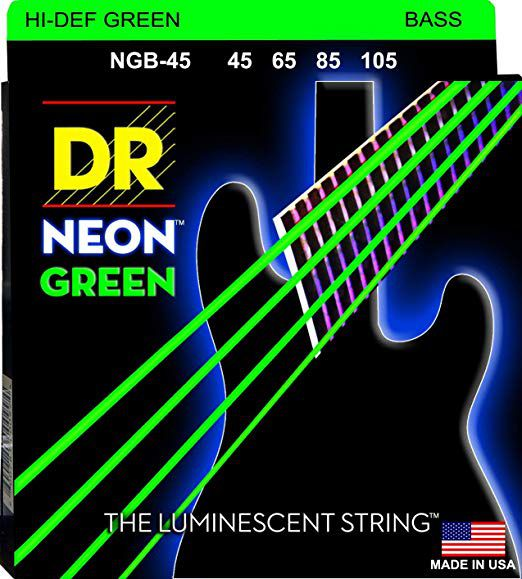 Encordoamento p/Baixo DR STRINGS 4C Hi-Def NEON GREEN Coated 45/105 NGB-45