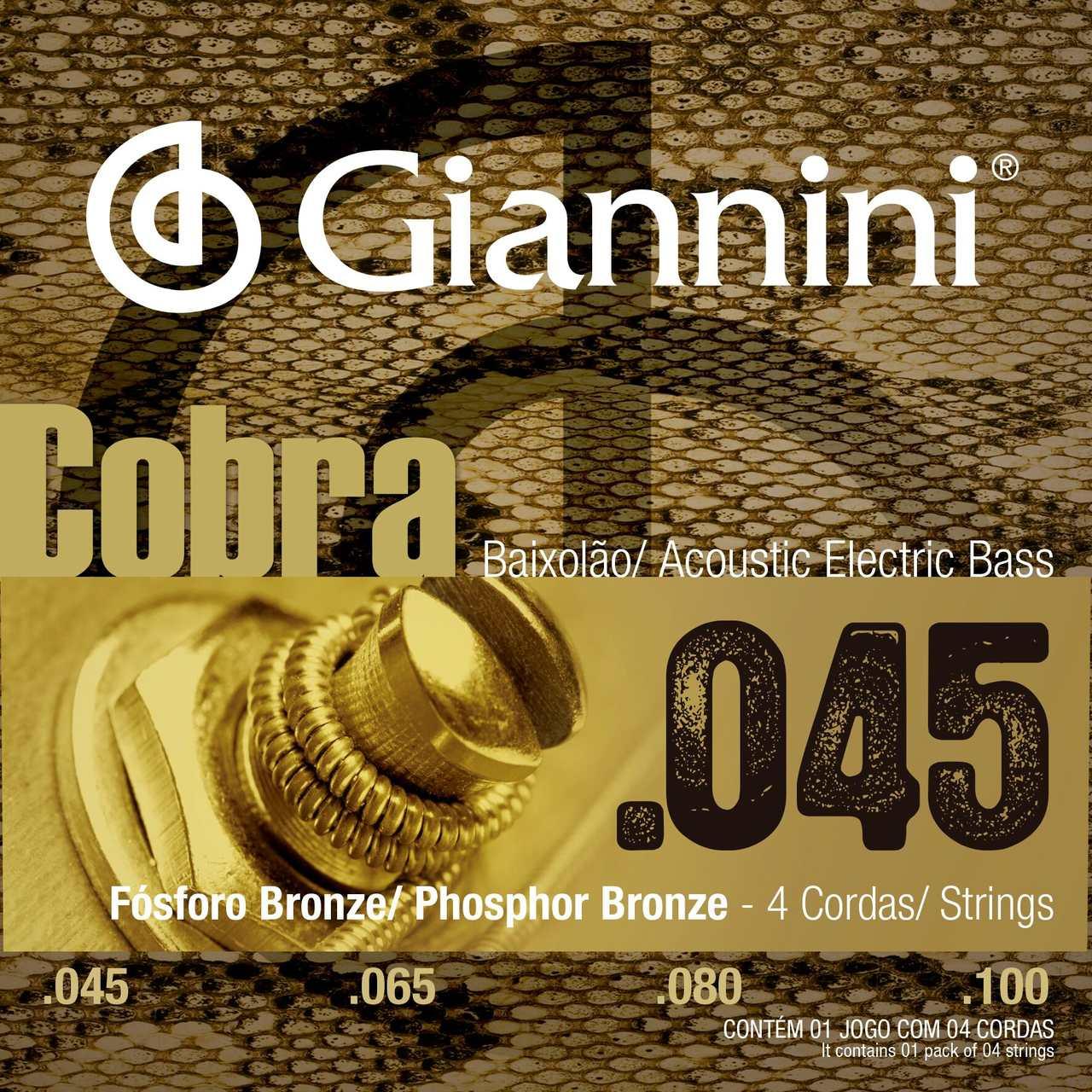 "Encordoamento p/Baixolão Giannini 4c Fósforo Bronze 0.045/0.100"" - GEEBASF"