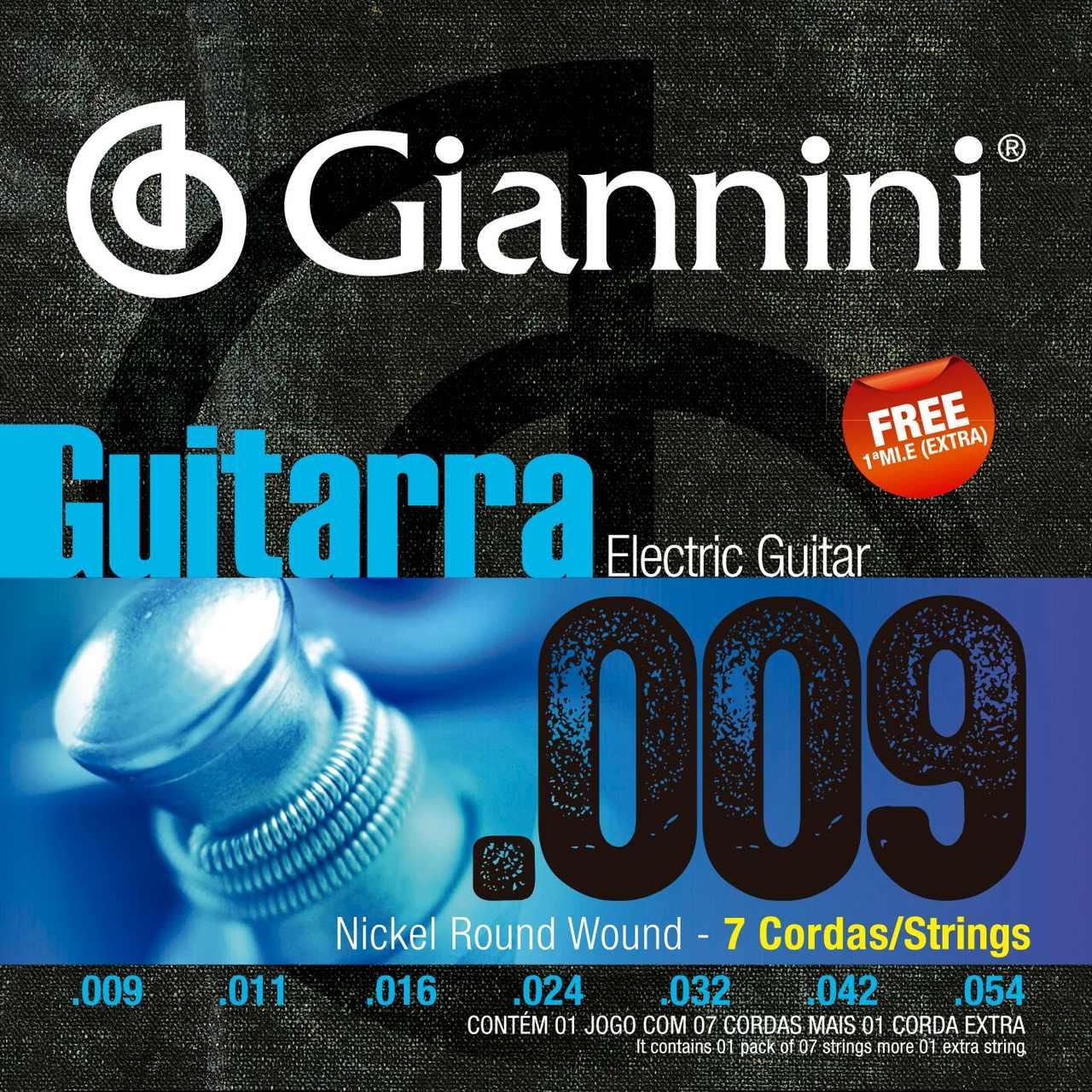 Encordoamento p/Guitarra Giannini .009 Nickel 7c - GEEGST.709