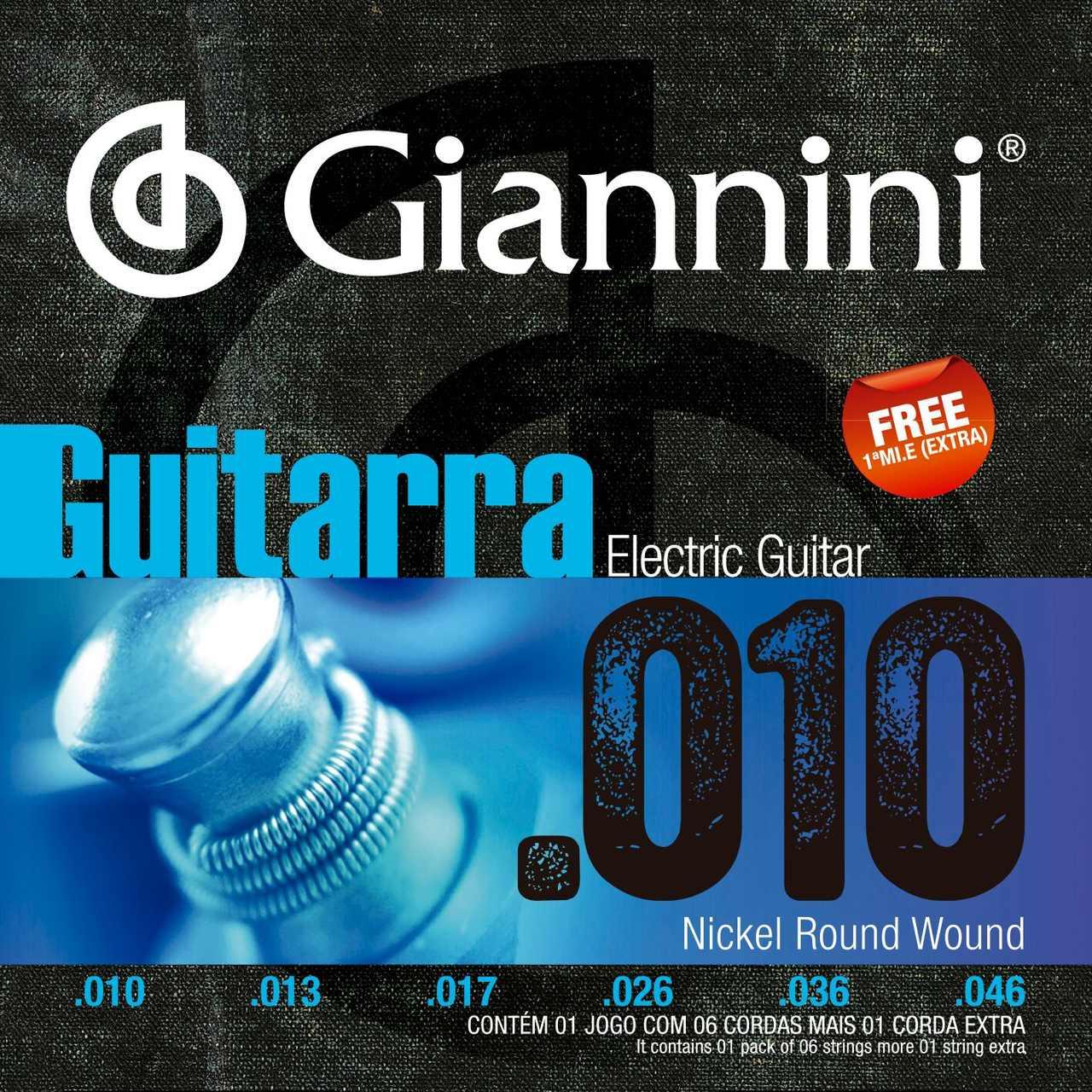 Encordoamento p/Guitarra Giannini .010 Nickel - GEEGST.10