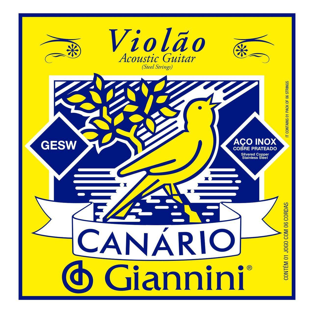 Encordoamento p/Violão Aço Giannini  Canário c/Chenilha - GESW