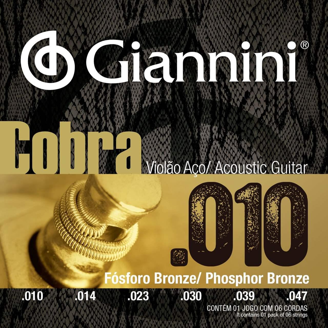 "Encordoamento p/Violão Aço Giannini Fósforo Bronze .010"" - GEEFLEF"