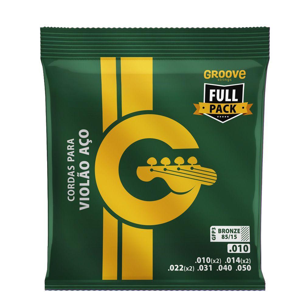 Encordoamento p/Violão Aço GROOVE Fullpack  0.10  GFP3