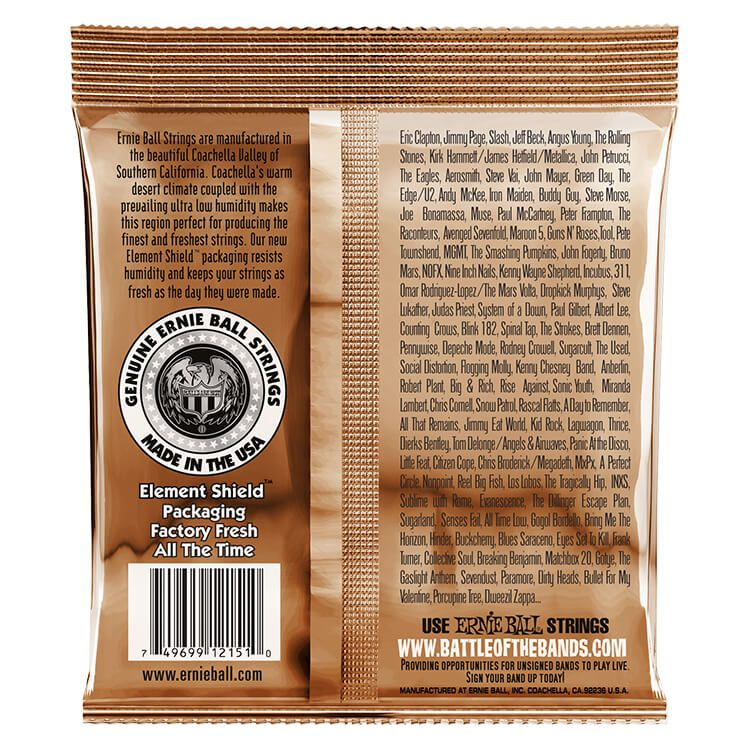 Encordoamento p/Violão Ernie Ball Earthwood Rock/Blues Phosphor Bronze 010-052 - P02151