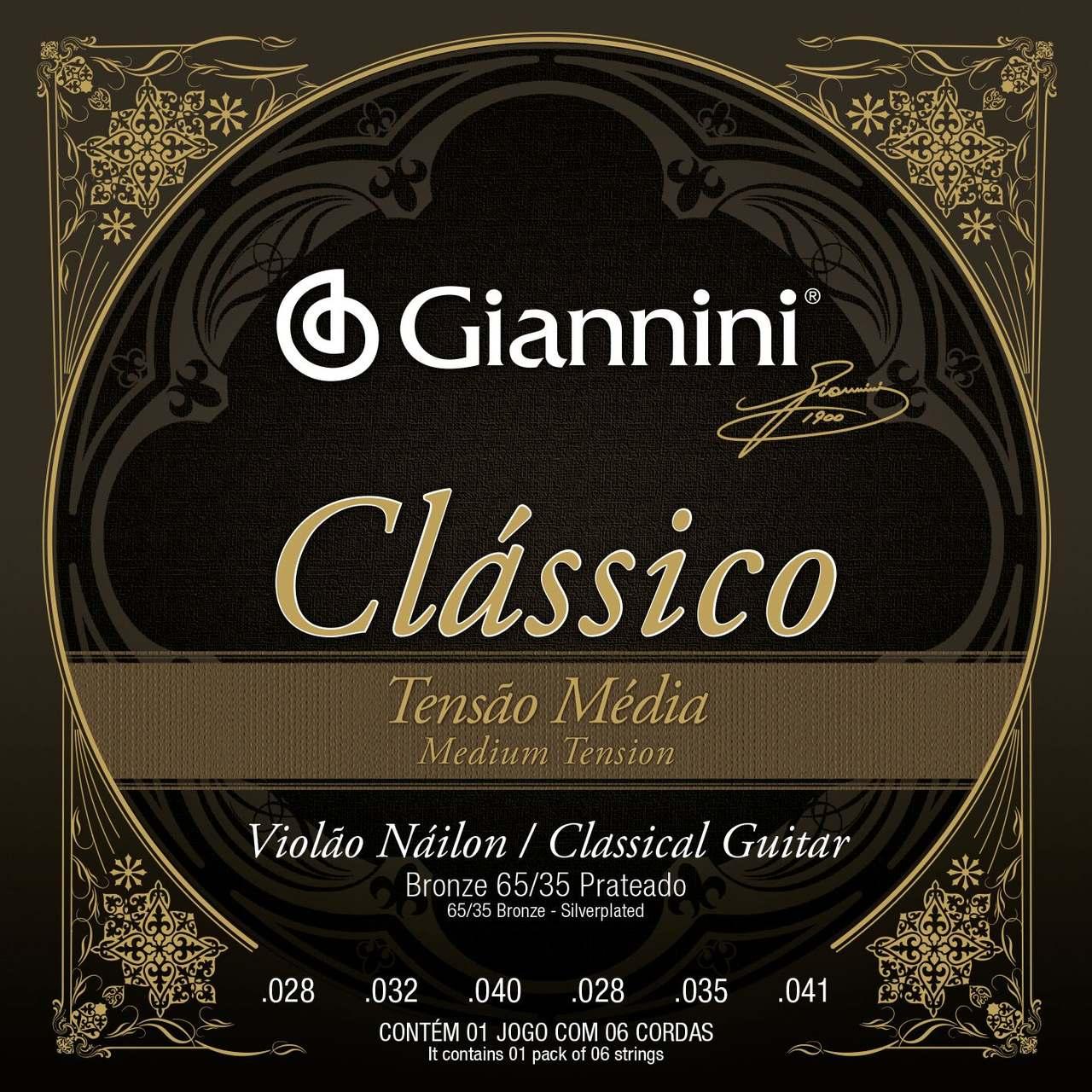Encordoamento p/Violão Nylon Giannini 65/35 Prateado MED - GENWPM