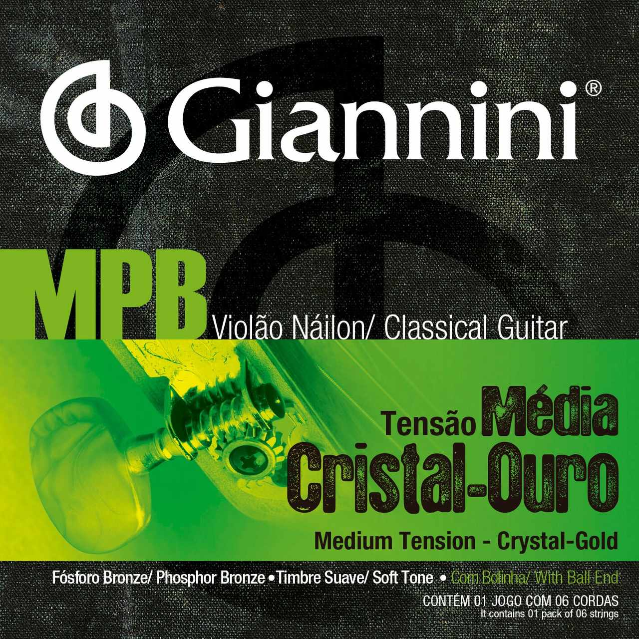 Encordoamento p/Violão Nylon Giannini Cristal/Ouro - GENWG