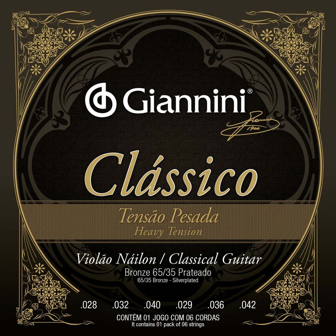 Encordoamento p/Violão Nylon Giannini Prateado 65/35 ALTA - GENWPA