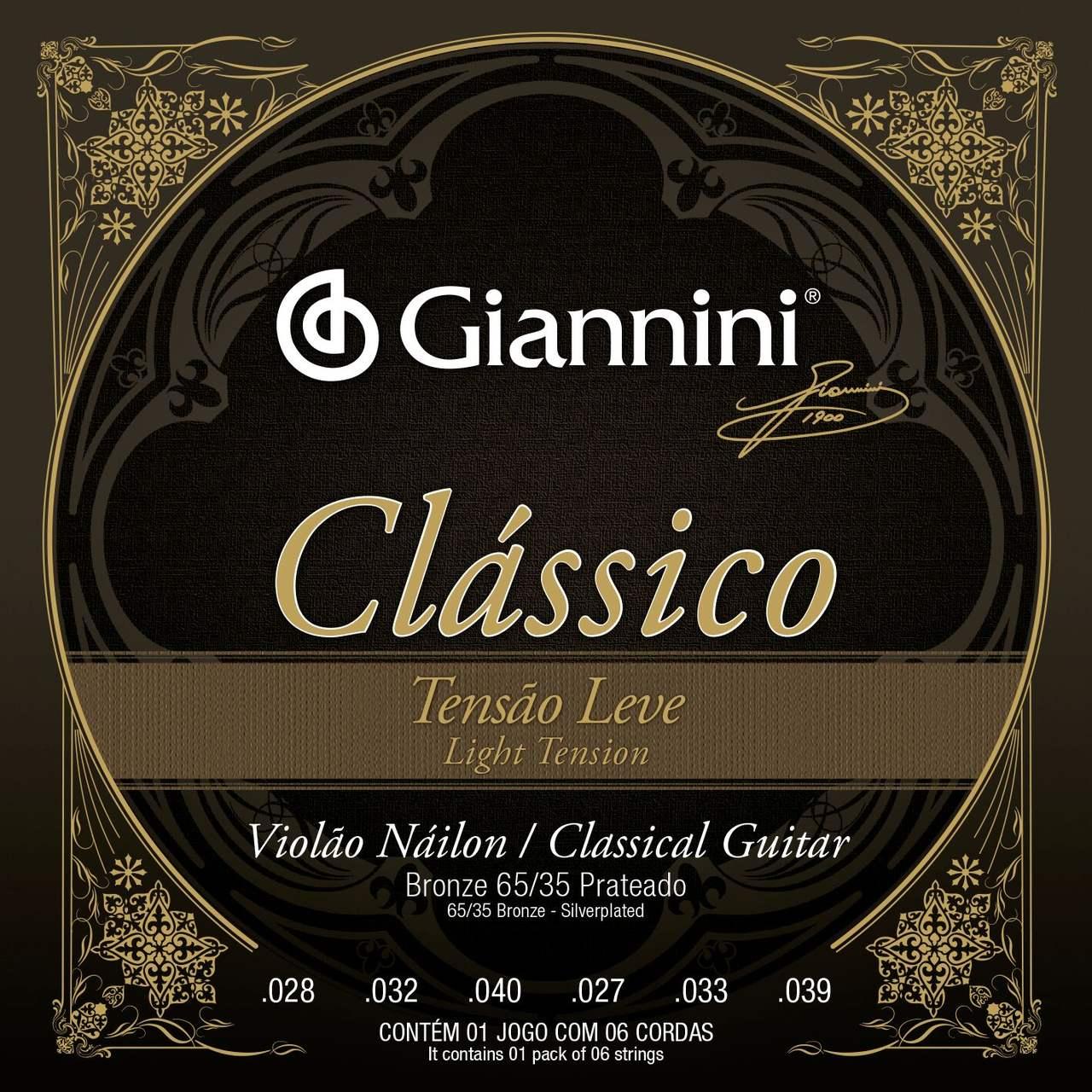 Encordoamento p/Violão Nylon Giannini PRATEADO 65/35 LEVE - GENWPL