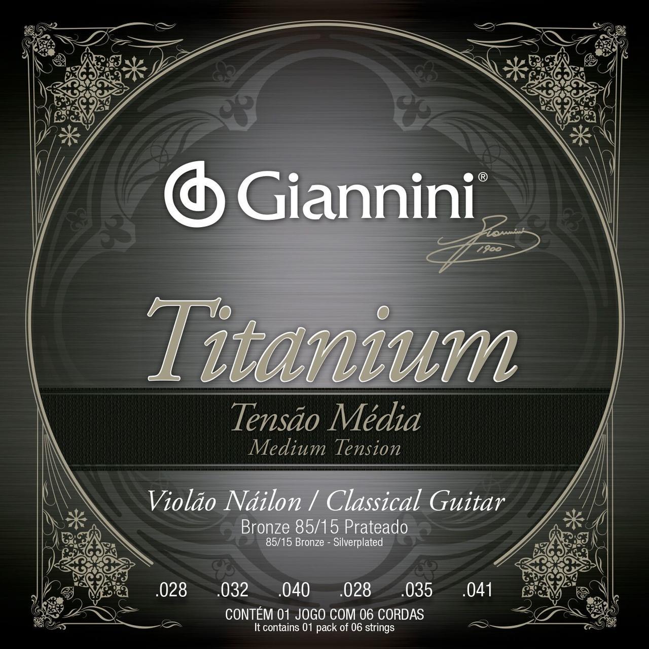 Encordoamento p/Violão Nylon Giannini Série Titaniun Color 85/15 - GENWTM