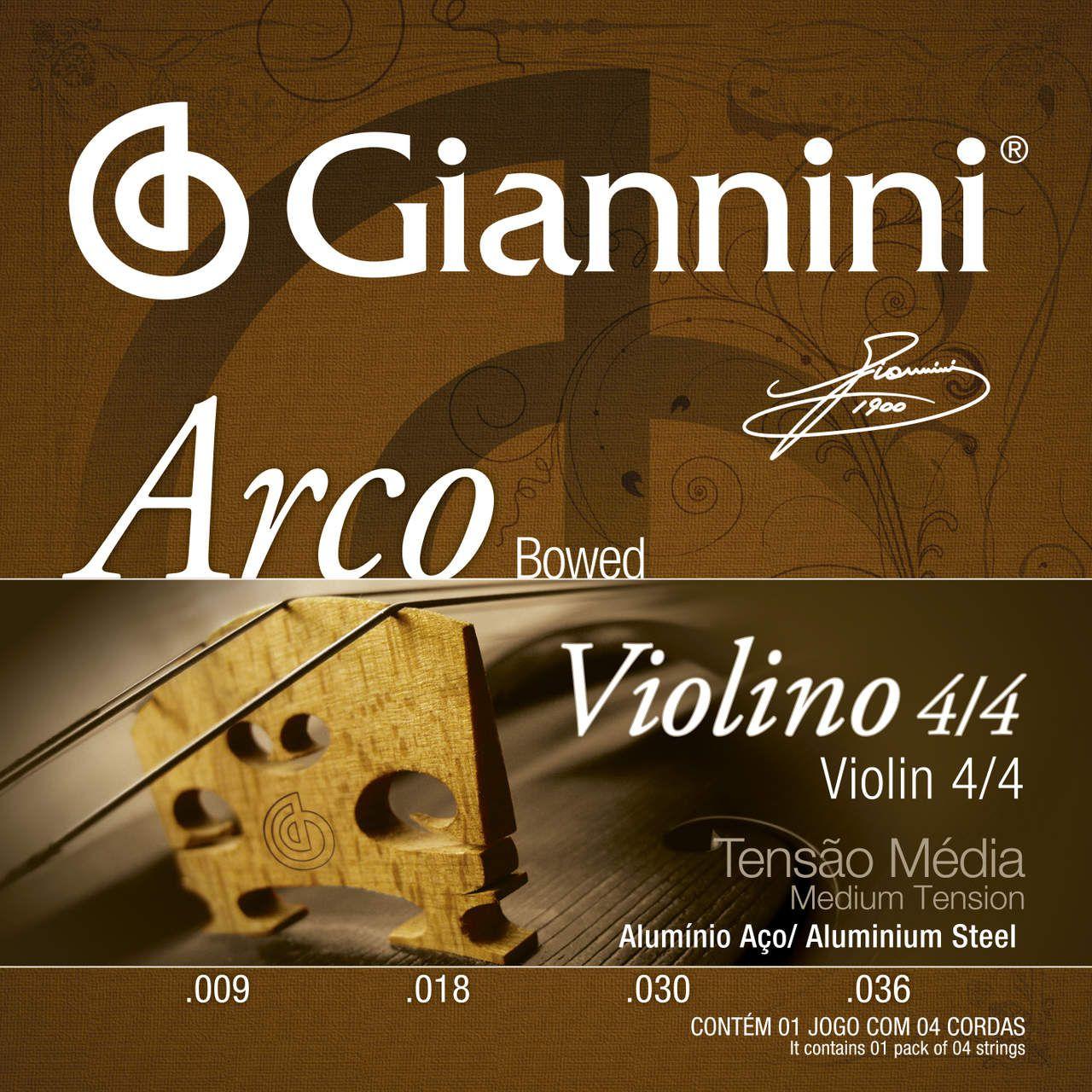 Encordoamento p/Violino Giannini 4/4 ALUMINIO - GEAVVA